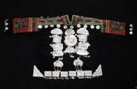 hmong - Tribal Vintage Clothing Costume Dress Hmong Miao Velvet Silver Ornament Jacket YP