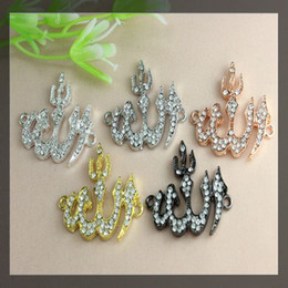 Wholesale 40pcs Crystal Rhinestones SideWays Allah Fire Shape Connector Beads making Bracelet Findings For DIY Jewelry five colors