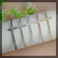 Wholesale 52x15mm Crystal Rhinestones SideWays cross charm Connector Beads making Bracelet Findings For DIY Jewelry five colors