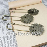 Wholesale Antique Bronze Metal Copper Flower Filigree Charms Safety Pin Brooch Findings mm