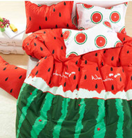 Wholesale 133X72 Counts Green Red Kids bedding set printed watermelon Size Queen Full comforter bed sheet pillow case MQQ017