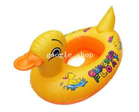 Disposable Accessories  Baby Kids Swimming Swim Yellow Rhubarb Duck Trainer Seat Inflatable Boat Ring Pool