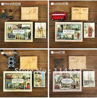 Wholesale Europe Travel Postcard vintage mini stationery envelopes set Mini Postcard Gift PRAHA LonDon Italy Paris