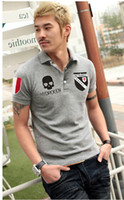 2013 New Arrival Mens gray lapels emboridery short sleeved t...