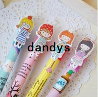 Wholesale Freeshipping cute Cartoon Kawaii girl ball pen Korean Style Ball Pen stationery pen Promotion Gift Fashion New