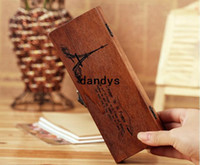 Wholesale Freeshipping New vintage towel wooden pencil bag Paris pencil case Storgae Box pen holder