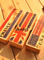 Wholesale Creative Vintage Flag design pencil case wooden Pen box pencil case for school