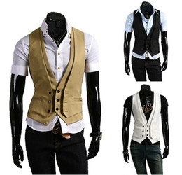 Wholesale monde new arrive men s vest fake two piece design white black khaki