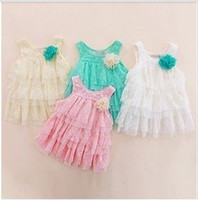 Wholesale Baby girl lace dresses girl s vest flower dresses floral dress cake dresses lace princess dresses girls clothes children dresses