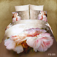 Adult Twill Printed big pink red flower oil painting bedding set 3d 4pcs bedsheets cotton duvet quilt cover luxury bed linen sets king queen size