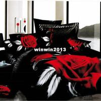 Adult Twill Printed for unique wedding 4pcs bedding set 100 cotton 3d big red rose printed bedsheet sets Duvet Quilt cover king queen size bedspread