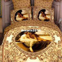 Adult Twill Printed European style cotton bedclothes luxury bed linen unique 3d oil printed 4pcs bedding set for queen King bedcover bed sheet sets