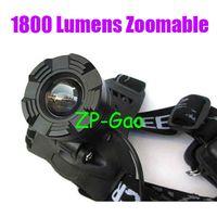 Wholesale 1800lm CREE XM L T6 LED Zoom HeadLight HeadLamp Lumens Zoomable Black