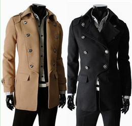 Wholesale 2013 Fashion Men s Trench Coat Cotton Worsted Long Sleeve Turn Down Collar Incline Double Breasted Casual Slim Men Coat F08