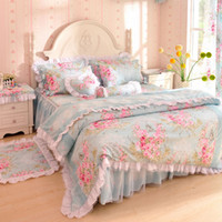 Wholesale Korean bedding laciness cotton set unique bedroom sets flower style princess printed full