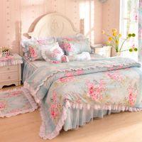 achat en gros de bedroom set-Literie 100% 4pcs Laciness de coton coréens fixés unique chambre fixe princesse de style de fleurs imprimées LIVRAISON GRATUITE complète