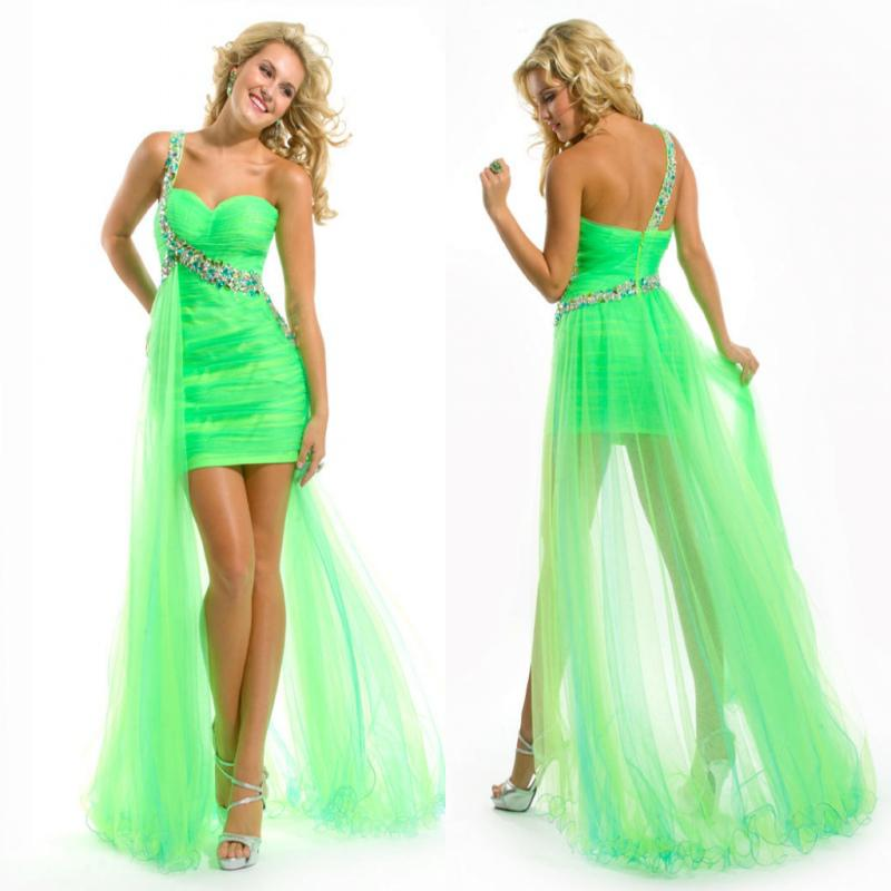 Bright Green One Shoulder Crystals Beading Short Front Long Back ...