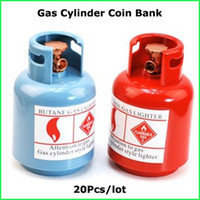 100% brand new gas cylinder - New Arrival Creative ABS Blue Red gas cylinder shape Coin Bank Moeny Boxes Child Toy Hot Sale