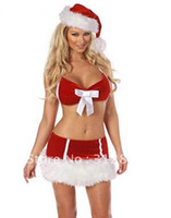 Wholesale sexy New Arrival Cheap women Christmas Lingerie Sets S Costumes dresses Bra Hat Mini Skirt XMAS Clothes cosplay