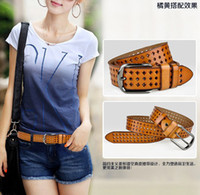 Wholesale Fashion cutout women s all match belt genuine leather white strap decoration Women genuine leather waist belt