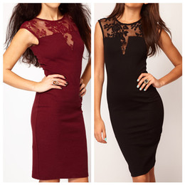 Wholesale Fashion Sexy Women Ladies Dress Floral Lace Insert Slim Bodycon Party Clubwear Evening Dress G0198