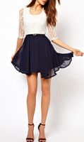 Wholesale New Sexy Fashion Summer Women Ladies Skater Cute Casual Dress Chiffon Lace Top Dress G0207
