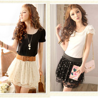 Wholesale summer skirt Fashion Chiffon Pleated dot short Elastic Waist Lace mini skirts women G0193
