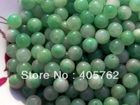 Wholesale Handmade green jade beads and a diameter of about mm a pack of