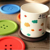 Wholesale Classical Colorful Cute Button Shape Silicone hollow out Anti Heat SkidProof Coasters Cup mat dish mat colors