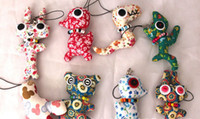 Wholesale Creative button doll vintage Craft Workshop Chinese zodiac cartoon animals cell phone handbags straps charms accessories handmade toys gift