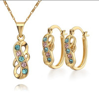 18k gold - Fashion Jewelry Sets K gold plated CC color Austrian crystal necklace earrings for women set