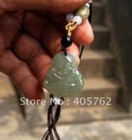 hand carved jade - Hand carved natural light gray jade Jade Buddha amulets pendants necklace