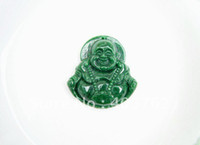 Wholesale Hand carved full of natural green jade Buddha Talisman Charm pendant necklace about x43x12mm