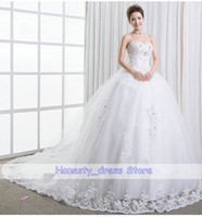 Wholesale Cheap White Lace Wedding Dress A Line Strapless Beaded Sequin Court Train Ruched Organza Lace Up Choose Size Looks Below Size Chart First