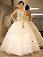 Wholesale Cheap Ivory Two Layers Lace Wedding Dress A Line Sweetheart Crystal Beaded Sequin Ruffles Lace Up Choose Size Looks Below Size Chart First