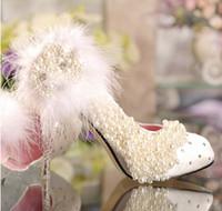 Wholesale 2013 fashion crystal wedding high heel single shoes platform rhinestone lace flower Imitation pearl white feather princess pumps