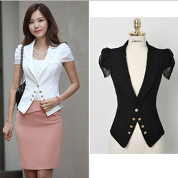 Wholesale Korean Style Short Sleeve Ladies Work Suit Blazer Short Cardigan Slim Fit White Black Summer Spring Woman Girl Tuxedo Blazers Outwear LJ0705