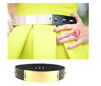 Wholesale Fashion Women Spike Gold Metal plate waist Leather Belt Black and Red Lady Dress Corset Celebrity Punk