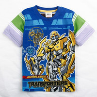 3/4y-4/5y-5/6y-6/7 Round Neck Boy Boy T-shirts C2511 Blue Cartoon Transformers Tshirts for Boys 3y-7y 100% Cotton Export Quality 4pcs lot Children Transformers Tees