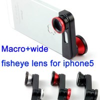 Wholesale 180 degree Macro wide fisheye lens in lens camera for iphone5 with retail box