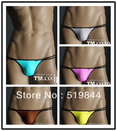 Wholesale lingerie men low rise mens underwear male elastic silky ultra low waist thongs for men gay