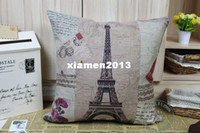 Wholesale Beautiful City Scenery France Paris Eiffel Tower Pattern Decorative Square Cushion Cover Shell Throw Pillow Case
