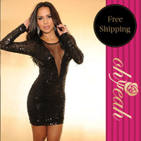 Wholesale Catch Fashion Visible V Sizzling Black Sequin Sexy Party Dress Ladies Long Sleeve Clothes Club Wear Dresses R7543 With Plus Size