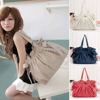 Wholesale Womens Ladies Ruched PU Leather Tote Handbag Messenger Shoulder Hobo Bag