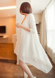 Wholesale maternity clothing Long sleeved Chiffon White Dress Pregnant Women Maternity maxi dresses long one piece