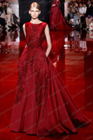 Crew affordable fashion trends - 2016 Elie Saab New Fashion Trends Hot Red Beads Sequins Appliques Crew Neck Long A Line Modest Wedding Evening Dresses Affordable Gowns Hot