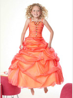 Wholesale Charming A line Crystals Orange Girl s Pageant Dresses Spaghetti Flower Girls Dresses Wedding Girls Dress Party Dress A95