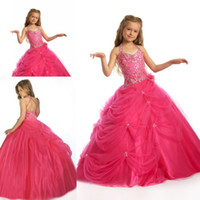 Wholesale Kids children glitz beauty hot red cupcake ball gown sleeveless organza little girl s pageant dresses for sale ZFD