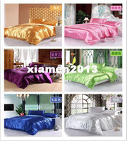 Wholesale FEDEX solid color silk bedding set luxury wedding bedding set king size hot sale comforter set sheet