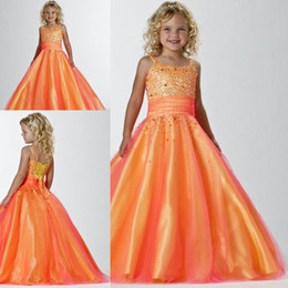 Kids children glitz beauty orange color a line sleeveless organza beaded little girl's pageant dresses for sale ZFD-040